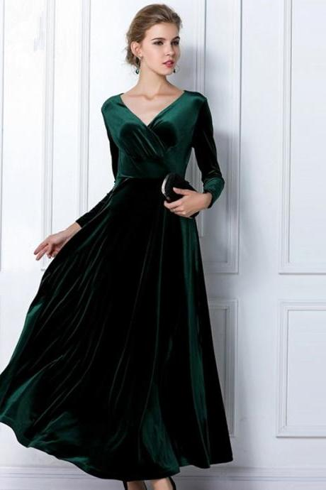 Emerald Green Velvet Dress Long Party Formal Evening Maxi Dress Cocktail Gown Long Sleeved Maternity Dress Dinner Dress