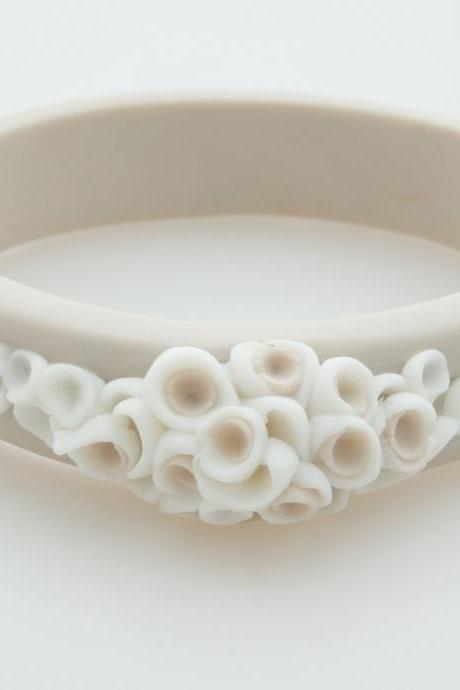 Bracelet Bangle , La Angosta Porcelain Bracelet , Beige and White