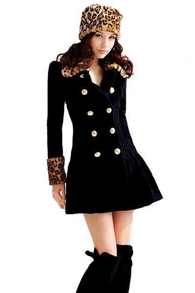 Elegant European Style Leopard Print Navy Blue Long Coat