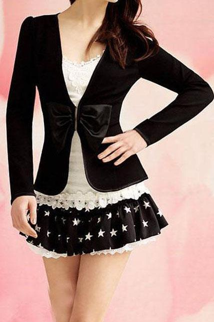 Fitted Chic Black Bow Knot Design Cotton Coat