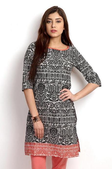Women Black & White Printed Kurta