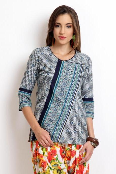 Women Off-White & Navy Printed Kurti