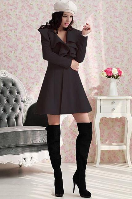 Vogue Ruffled Design Black Long Coat