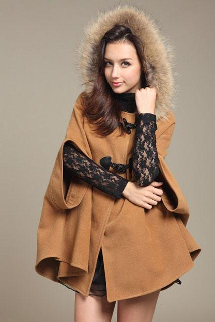 Faux Fur Design Light Tan Fashion Coat