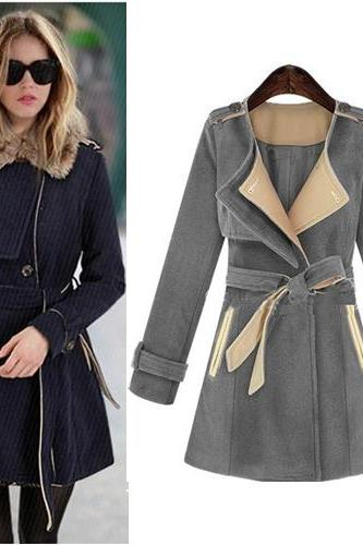 Grey Turn Down Collar Trench Coat