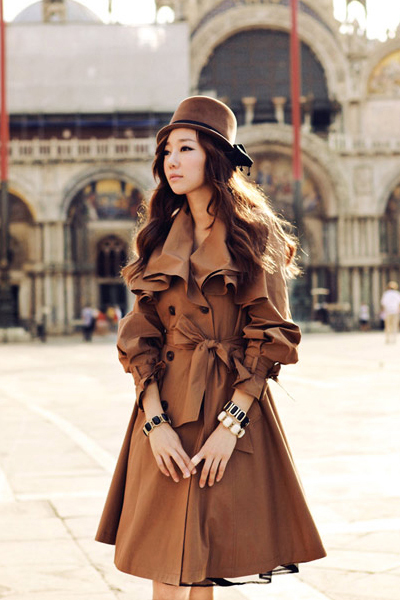 Elegant Brown Ruffled Double Breasted Trench Coat