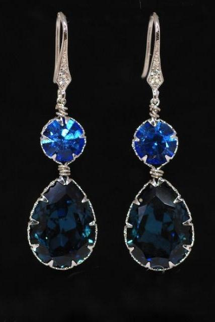 Cubic Zirconia Detailed Earring Hook with Swarovski Round Sapphire, Montana Blue Teardrop Crystals - Wedding Jewelry, Bridal Earrings (E560)