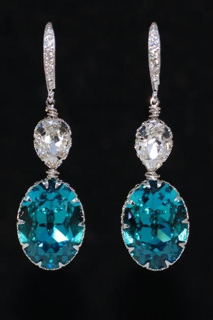 Cubic Zirconia Detailed Earring Hook with Swarovski Clear Teardrop, Indicolite Oval Crystals - Wedding Jewelry, Bridal Earrings (E648)