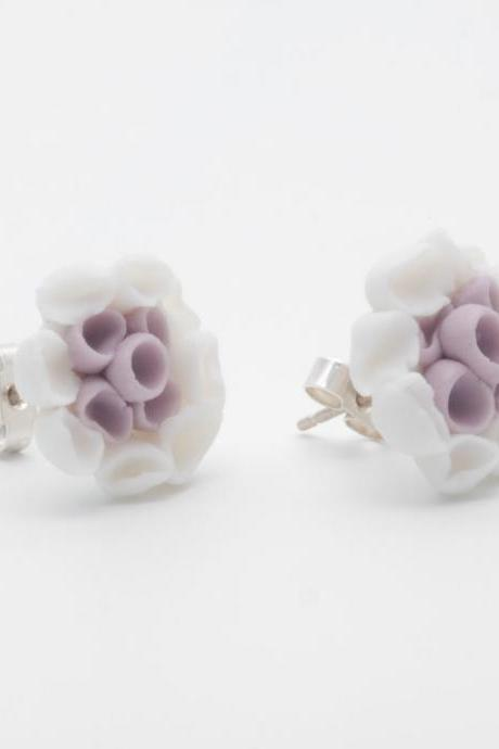 Earrings Studs , Aragonesa Purple and White Porcelain Post Earrings