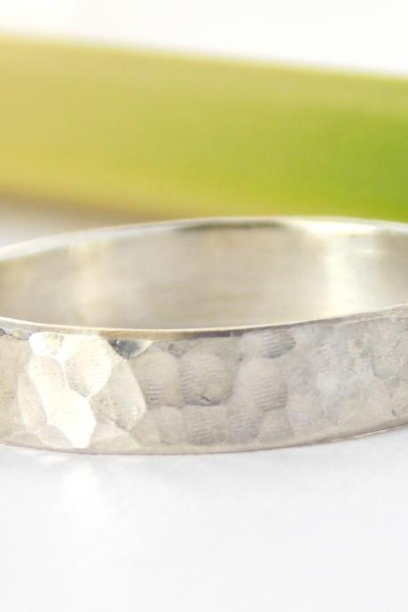 Hammered Band Ring -sterling silver ring, textured ring, simple ring, Silver Ring, hammered texture ring, hammered ring, wedding band