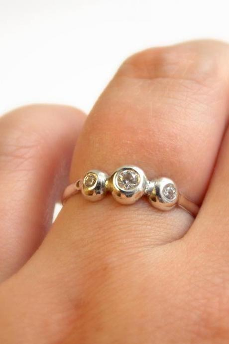 Three Stone Recycled Sterling Silver Ring - White Topaz Ring / Silver Ring / Birthstone Ring / Mother's Ring / Mother's Day Ring