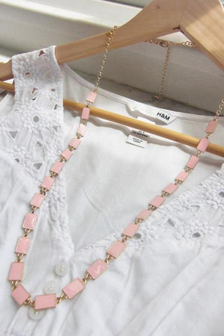 Pink Rectangular Bead Long Necklace
