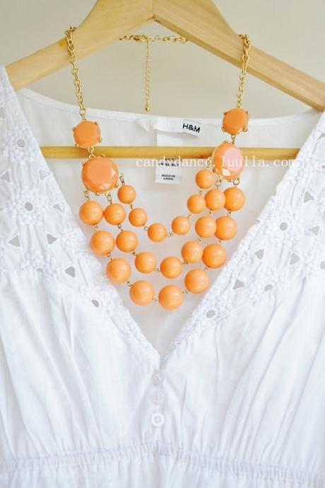 Multilayer Orange Beads Bubble Statement Necklace