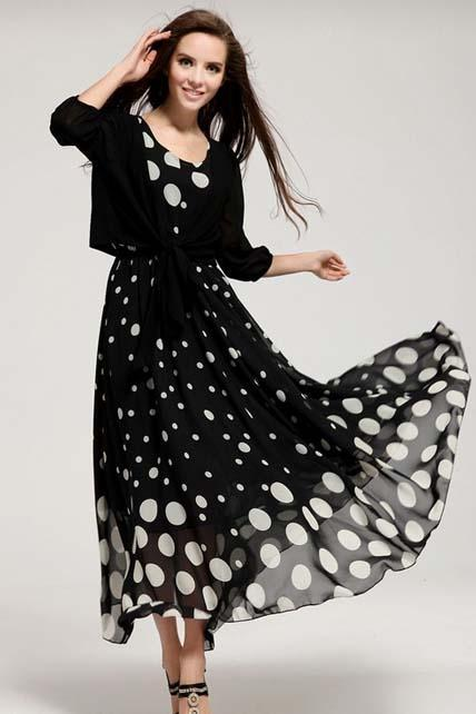 Ankle Length Polka Dot Vest Dress with Shawl