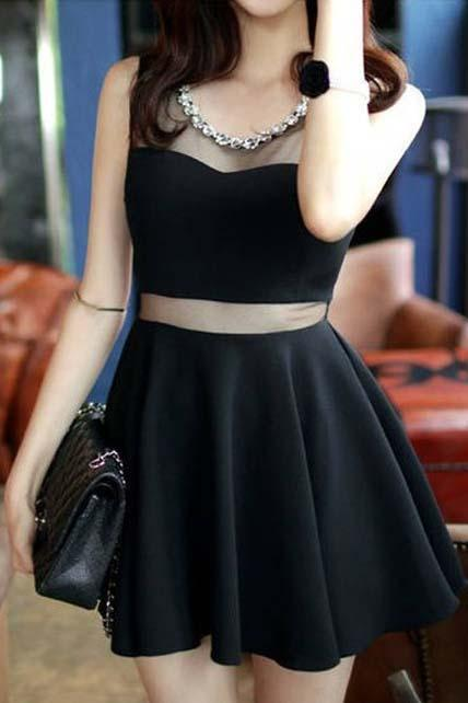 A Line Black Gauze Paned Mini Dress for Prom