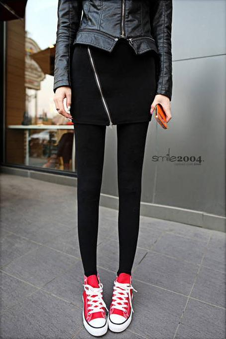 Side Zipper Design Black Fashion Leggings