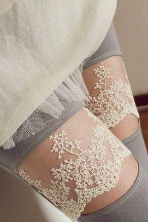 Sexy Lace Detail Slim Fit Leggings