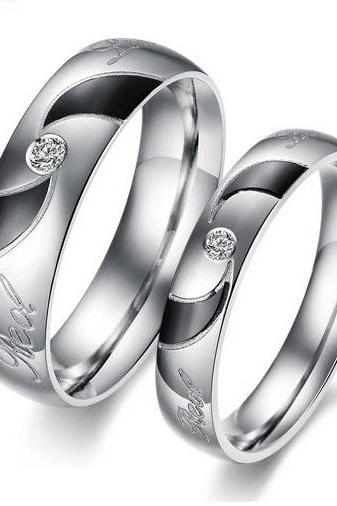 2 pcs - Real Love Matching Couple Ring Set - Promise Ring (avail sizes 5 thru 12)