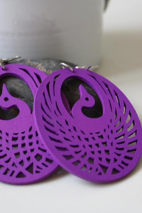 Purple Queen of Swan ,Naturally Beuaty Laser Cut Wood Earring