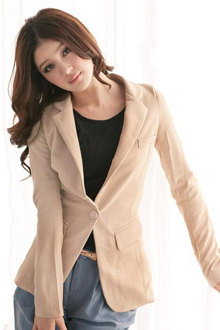 Charming Beige Long Sleeve Blazer
