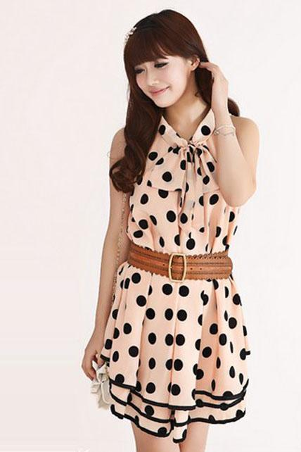 Lovely Sleeveless Polka Dots Print Layered A Line Dress - Pink