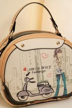 Cute Vintage Design Apricot Colored Leather Hand Bag