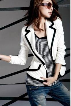 Sexy Turn down Collar Long Sleeves White Suit