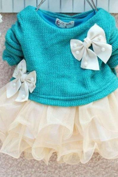 READY FOR SHIPPING Newborn Girls 3-6 Months Aqua Blue Dress - Blue Dress Baby Infant Newborn Girls