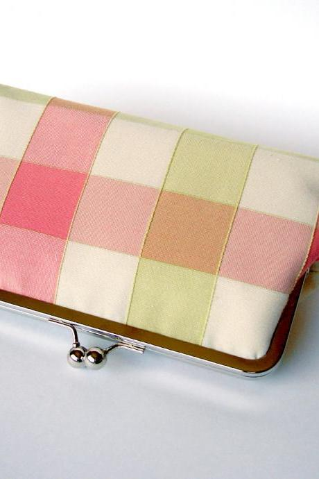 Kisslock Clutch Silk Frame Handbag Pink and Green Plaid