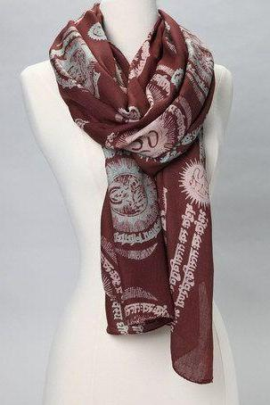 Gayatri Mantra Scarf in CHOCOLATE