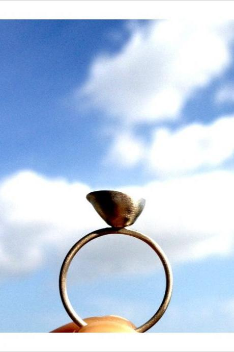 Little Cup Sterling Silver Ring with Freshwater Pearl Oxidized interior for contrast Simple Minimalistic Thin Band