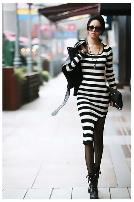Asymmetrical Hem Black and White Stripes Long Sleeve Dress