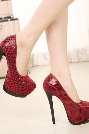 Red High Heel Platform Pumps
