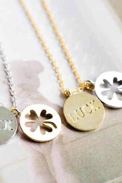 Clover and luck pendant nekclace, luck jewelry,necklace,good luck charm,4 leaf clover,good luck ,LUCK charm,double pendants,jewelry,N147K