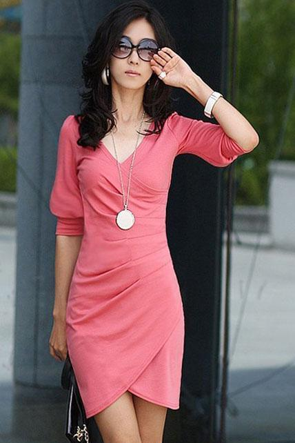 Glamorous V Neck Design Cotton Black Wrap Dress - Light Red
