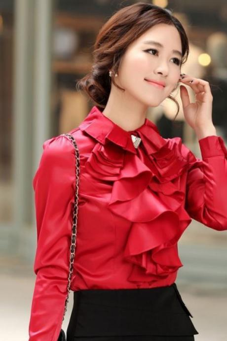 New Women Spring and Summer Fashion StyleTops Blouse -Red Ruffled Top Blouse