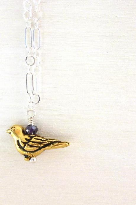 Bird Charm Necklace in Sterling Silver and Brass