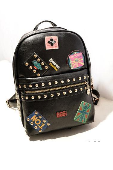 Embroidered Logo Studded Backpack