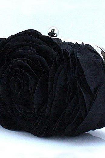 Black Clutch for Elegant Women-Big Rose Clutch-Black Purses
