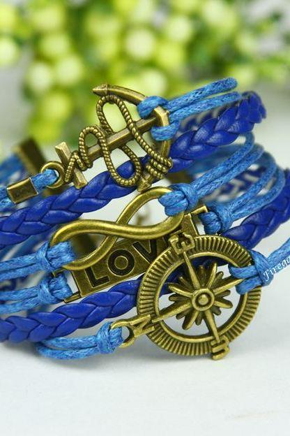 Anchor, Compass, Love and Infinity Bracelet Nautical charm wrap bracelet