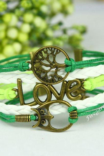 Tree, Owl and Love Bracelet Tree of Life charm wrap bracelet