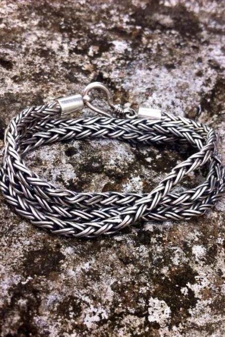 Sterling Silver Braided Wrap Bracelet, Solid Sterling Silver Handmade Wrap Bracelet, Bohemian Silver Jewelry for Women