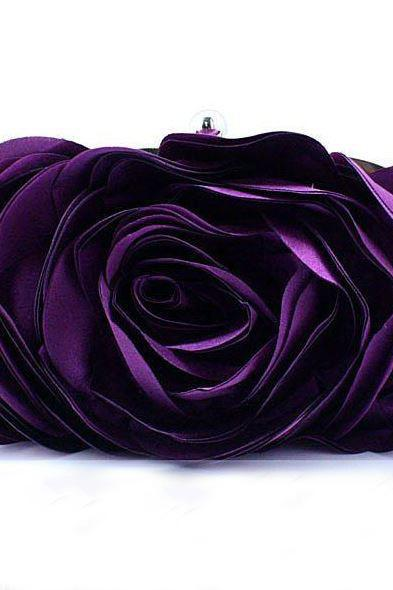 FREE SHIPPING! Purple Eye Catching Clutch for Women-Elegant Eye Catching Rose Clutch- Evening Purse for Women