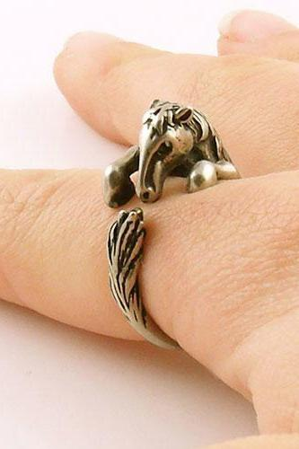 Horse - Animal Wrap Ring - Silver