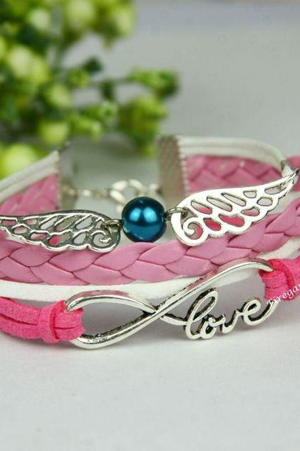 Angel wings bracelet Infinity Love charm wrap bracelet