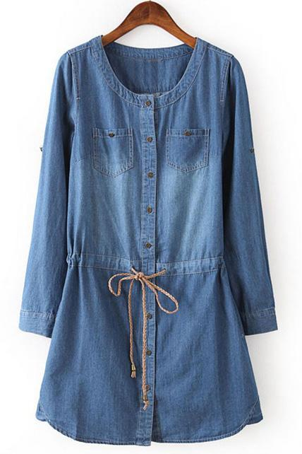 Simple Round Neck Long Sleeve Denim Dress - Blue