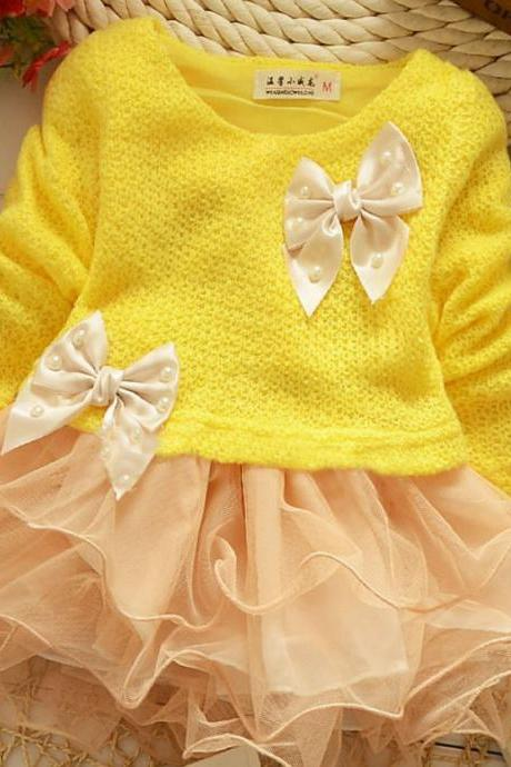 Free Shipping Yellow Long Sleeve Cotton Dress for Girls