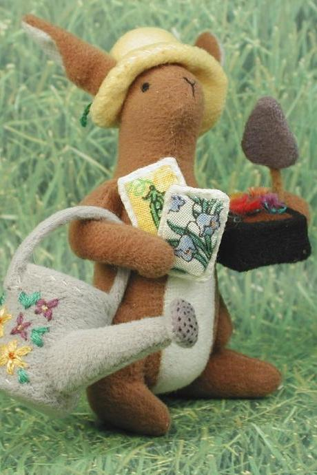 Spring Gardener Bunny With Tools of the Trade