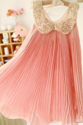 READY FOR SHIPPING! Girls Peach Pink Dress-Pink Dress Chiffon Summer Dress Sparkling Sequined Peter Pan Collar Fancy Dress