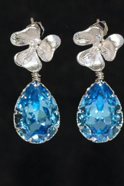 Cubic Zirconia Detailed Floral Earrings, Aquamarine Teardrop - Wedding Earrings, Bridesmaid Earrings, Bridal Jewelry, Brides Earrings (E146)